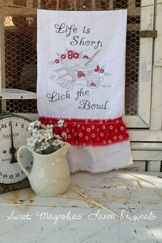 "Flour Sack Kitchen Towel... Farmhouse Cottage Chic Country Style Southern Saying Ruffle ""Life is Short Lick the Bowl"" RED"