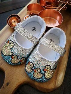 Three Little Ducks Ballet Little Duck, Three Little, Baby Shower Presents, Baby Shower Gifts, Baby Bling, Rhinestone Shoes, Baby Keepsake, Light Peach, Little Princess