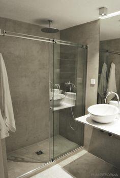 Baño estilo moderno color beige, blanco diseñado por Javier Alvarez - Arquitecto Beige Bathroom, Laundry In Bathroom, Small Bathroom, Bathrooms, Concrete Shower, Concrete Bathroom, Bathroom Design Inspiration, Modern Bathroom Design, Ideas Baños