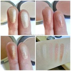 the Balm swatched with Becca highlighters. L to R: Mary loumanizer, Becca Moonstone, Cindy loumanizer, Becca Rosegold, Betty loumanizer, Becca Opal