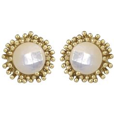 Kendra Scott Carly Mother-of-Pearl Button Earrings ($32) ❤ liked on Polyvore featuring jewelry, earrings, yellow, 14 karat gold jewelry, 14k jewelry, yellow jewelry, kendra scott and kendra scott jewelry