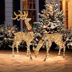 Glitter Sequin Buck & Doe Christmas Decor