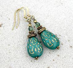 Dark Turquoise Green Drop Earrings - Silk Road, Bohemian, Antique Brass by LunarBelle on Etsy https://www.etsy.com/listing/150785411/dark-turquoise-green-drop-earrings-silk
