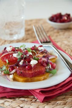 An easy vegetarian roasted beet, blood orange, pomegranate and goat cheese salad.