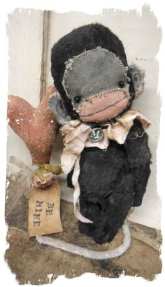 """A Cutie Patootie old rare black Circus Monkey handmade by Wendy Meagher of Whendi's Bears - A NEW Original ONE OF A KIND DESIGN  *** Aprrox. 8"""" Tall - Antique Style Old Aged Black color Monkey , ruff aged pink ruff collar"""