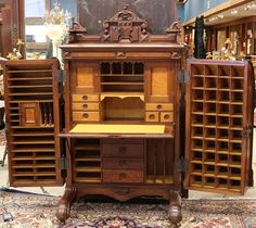 The mothership of bureaus: American Renaissance Revival Wooton two hinge Standard Grade Patent Desk, executed in walnut and birdseye maple, circa by Wooton Desk Co. What a desk - picture shows desk opened Victorian Furniture, Unique Furniture, Rustic Furniture, Vintage Furniture, Living Room Furniture, Diy Furniture, Furniture Layout, Furniture Arrangement, Furniture Design