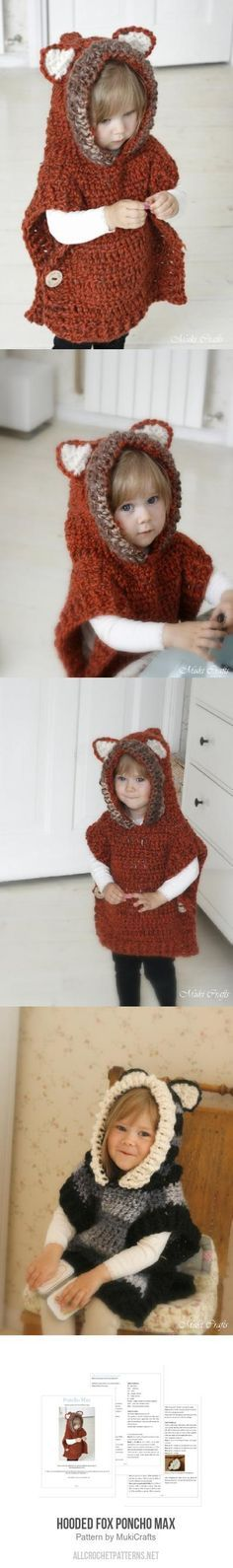 Hooded fox poncho Max crochet pattern