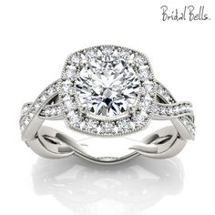 Cushion Halo 1.33cttw Diamond Engagement Ring with Crossed Shank