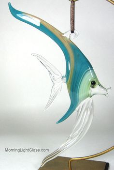 Large Glass Fish Ornament in stripes of Lime by MorningLightGlass, $60.00