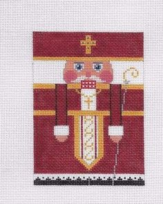 Julia-039-s-Needlework-Hand-Painted-Needlepoint-Canvas-ST-NICHOLAS-RED-ROLL-UP