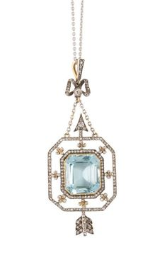 Pendant in yellow gold and platinum set with a rectangular step cut aquamarine framed with diamonds, Karl Fabergé, Moscow circa 1900