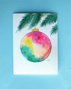Watercolor card, ( No. 3), Christmas