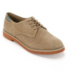 Eastland Bucksport Women's Suede Oxford Shoes ($50) ❤ liked on Polyvore featuring shoes, oxfords, lt beige, suede leather shoes, suede oxford shoes, beige suede shoes, lace up oxfords and print shoes