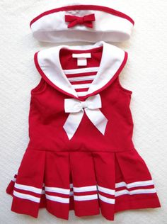 Adorable Bonnie Baby Girls 24M Red White Sailor Pleated Dress with Nautical Hat | eBay
