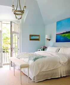 Color ideas for creating a seaside bedroom retreat.