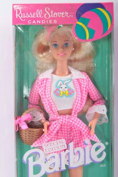 Barbie Easter Special Edition Russell Stover Candies Vintage Doll In A Box Blond Pink Checkered Outfit Comb  The Pink Room  170118 by ThePinkRoom