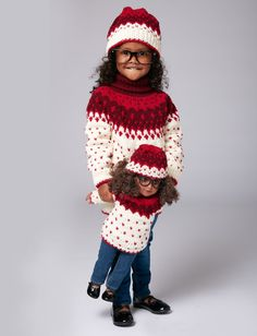 The perfect winter outfit for your little one and her best friend - a nordic sweater and hat set, knit in Bernat Super Value! Knitting For Kids, Baby Knitting Patterns, Free Knitting, Crochet Patterns, Nordic Sweater, Free Clothes, Knitted Dolls, Girl With Hat, Doll Clothes Patterns
