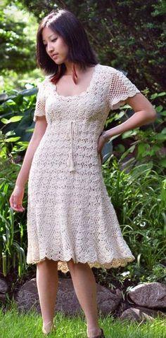 Handmade Crochet Dress in Cream Crochet Woman, Love Crochet, Knit Crochet, Church Dresses, Lace Evening Dresses, Blouse Dress, Knit Dress, Short Tejidos, Tight Dresses