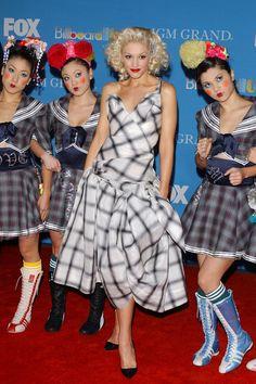 Gwen Stefani Print Dress  Gwen Stefani wore a plaid print dress with clasic black flats for the Billboard Music Awards' red carpet.