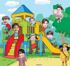 Exo Cartoon, Cartoon Edits, Kyungsoo, Chanyeol, Exo Stickers, Cute Bunny Pictures, Exo Music, Exo Fan Art, Exo Memes
