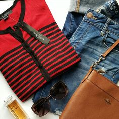 August Silk ☆ Cardigan Red and Navy stripes. Long sleeves. Button closure. 60% cotton. 40% modal. august silk Sweaters