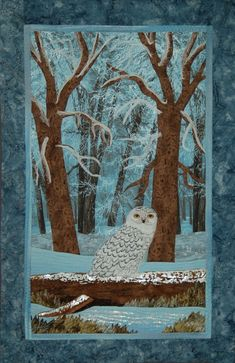snowy wonderland embellished art quilt snowy owl