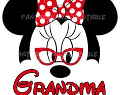 Minnie Mouse Glasses Classic Red Bow Silhouette for DIY Printable Iron Grandma Nerd Transfer family Disney trip Applique Vacation Shirt For Mom! Change from Grandma to Nana