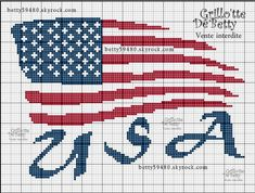 Pays - country - drapeau usa  - point de croix - cross stitch - Blog : http://broderiemimie44.canalblog.com/