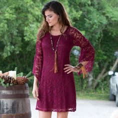 Cowgirl Social Dress in Wine- Go out for a night on the town in this Rod's Exclusive Cowgirl Social dress in wine