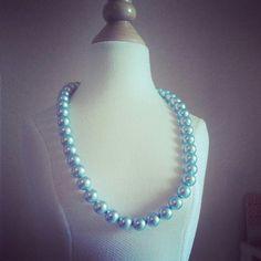 Carolina Blue, Carolina Girl, Tarheel, Swarovski crystal pearl necklace! the Perfect color!  Baby blue