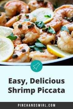 Shrimp Piccata is one of those easy, healthy recipes that's dinner party elegant and weeknight simple! Made with tender shrimp and fresh lemon all tossed in a creamy garlic butter and caper lemon sauce! Skip the cornstarch coating to make it keto diet friendly. Italian Dishes, Italian Recipes, Seafood Recipes, Appetizer Recipes, Roast Broccoli And Cauliflower, Easy Make Ahead Appetizers, Mashed Red Potatoes, Healthiest Seafood