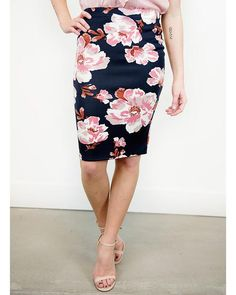 Zia Stretchy Floral Pencil Skirt - Cents Of Style
