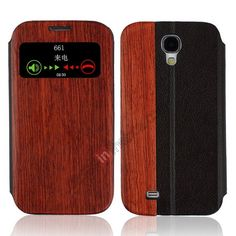 Wood Genuine Leather Flip Cover Case for Samsung Galaxy S4 i9500 - Black US$21.99+free shipping