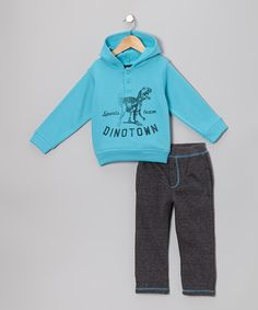 Take a look at this Aqua 'Dinotown' Hoodie & Pants - Infant & Toddler on zulily today!