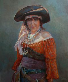 """I like """"Pirate Woman"""" by Marylene Proner. She looks like a middle-aged housewife rather than the typical young buxom damsel. Do your homework ye skallywags or walk the plank."""