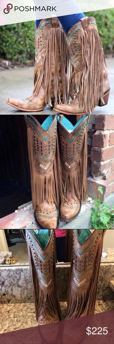 BUCKLE Corral Brown Fringe Cowgirl Boots size 7 Handcrafted in honey distressed leather, these boots stand out in fashionable flair with fringe details covering the shafts and studded turquoise & white tribal pattern embroidery designs on the shafts & feet. Soft lining and cushioned insoles provides much comfort for long wear. Dip openings and pull straps help in making dressing easier. Snip toes, leather outsoles and high heels bring some true Western flavor. Complementary to most outfits…