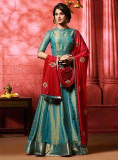 Jennifer Winget Teal Banarasi Silk Floor Length Anarkali Suit 105131