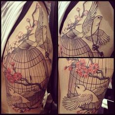 Cherry Blossom Bird Cage Tattoo