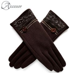 [BYSIFA] Cashmere Wool Women Gloves Winter Thick Ladies Lace Embroidered Wool Gloves Grey And Green Elegant Soft Mittens Gloves Wool Gloves, Mitten Gloves, Mittens, Floral Gloves, Purple Wine, Cashmere Wool, Womens Workout Outfits, Winter Shoes, Green And Grey