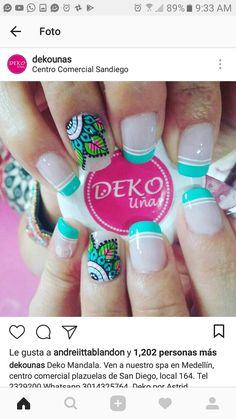 Diseños de uñas❤️ Cute Toe Nails, Toe Nail Art, Love Nails, Fun Nails, Pretty Nails, Iris Nails, Mandala Nails, Diy Nail Designs, French Tip Nails