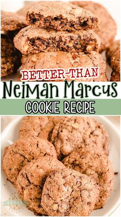 """""""Better Than"""" Neiman Marcus Cookies are fabulous oatmeal chocolate chip cookies made with grated chocolate! Thick & chewy oatmeal cookie recipe with great chocolate flavor that everyone loves! And bonus- the recipe is FREE! #cookies #chocolate #oatmeal #NeimanMarcus #easyrecipe from FAMILY COOKIE RECIPES Semi Sweet Chocolate Chips, Oatmeal Chocolate Chip Cookies, Chocolate Flavors, Neiman Marcus Cookie Recipe, Neiman Marcus Cookies, Potluck Desserts, Cookie Desserts, Dessert Recipes, Roll Cookies"""