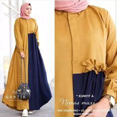 Bfmh klik 081233765375 Bahan balotelly fit to l Batik Fashion, Abaya Fashion, Women's Fashion Dresses, Dress Muslim Modern, Muslim Dress, Moslem Fashion, Casual Hijab Outfit, Hijab Chic, Baggy Pants