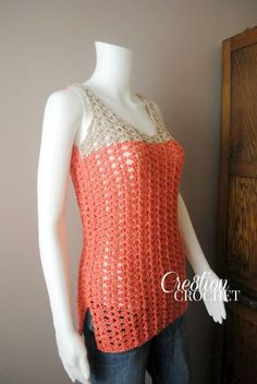 """Are you looking for an easy and fun crochet tank for this summer?  The Breezy Shell Tank comes in sizes XS-2x.  This lightweight tank will keep you """"cool"""" all summer long.  Free pattern."""
