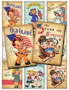 4th of July Patriotic Kids, Instant Download, Printable Digital Collage Sheet, Retro Vintage Independance Day, atc aceo by TheVintageRemix on Etsy https://www.etsy.com/listing/231003860/4th-of-july-patriotic-kids-instant