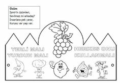 Üzüm Classroom Activities, Coloring Pages, Malta, Preschool, Diagram, Black And White, Kids, Handmade, Crafts