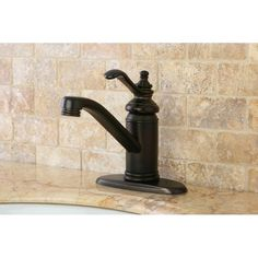 Update your bathroom decor with this gorgeous oil-rubbed bronze bathroom faucet. The faucet has a simple yet elegant design, with a single handle and a brass pop-up. A beautiful bronze finish makes this faucet a valuable addition to any bathroom.