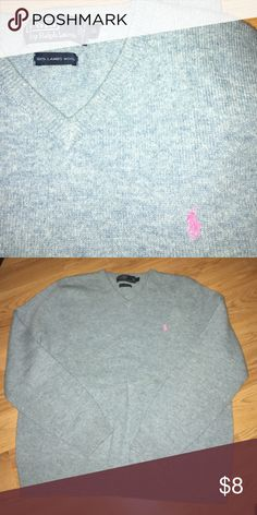 POLO Ralph Lauren 100%Lambswool sweater Classic sweater! Soft Lambswool. Heather blue. Timeless style Polo by Ralph Lauren Sweaters