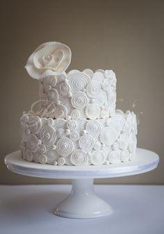 Amazing White Swirls Two Tiered Wedding Cake Picture