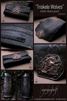 Morgenland Art Unique handmade creations get inspired from the old ages: Triskele Wolves leather tobacco pouch