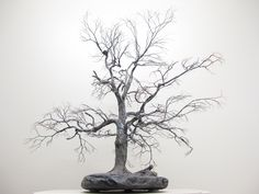 Copper wire tree - Bonsai style - Natural rock - recycled material - Wabi sabi -